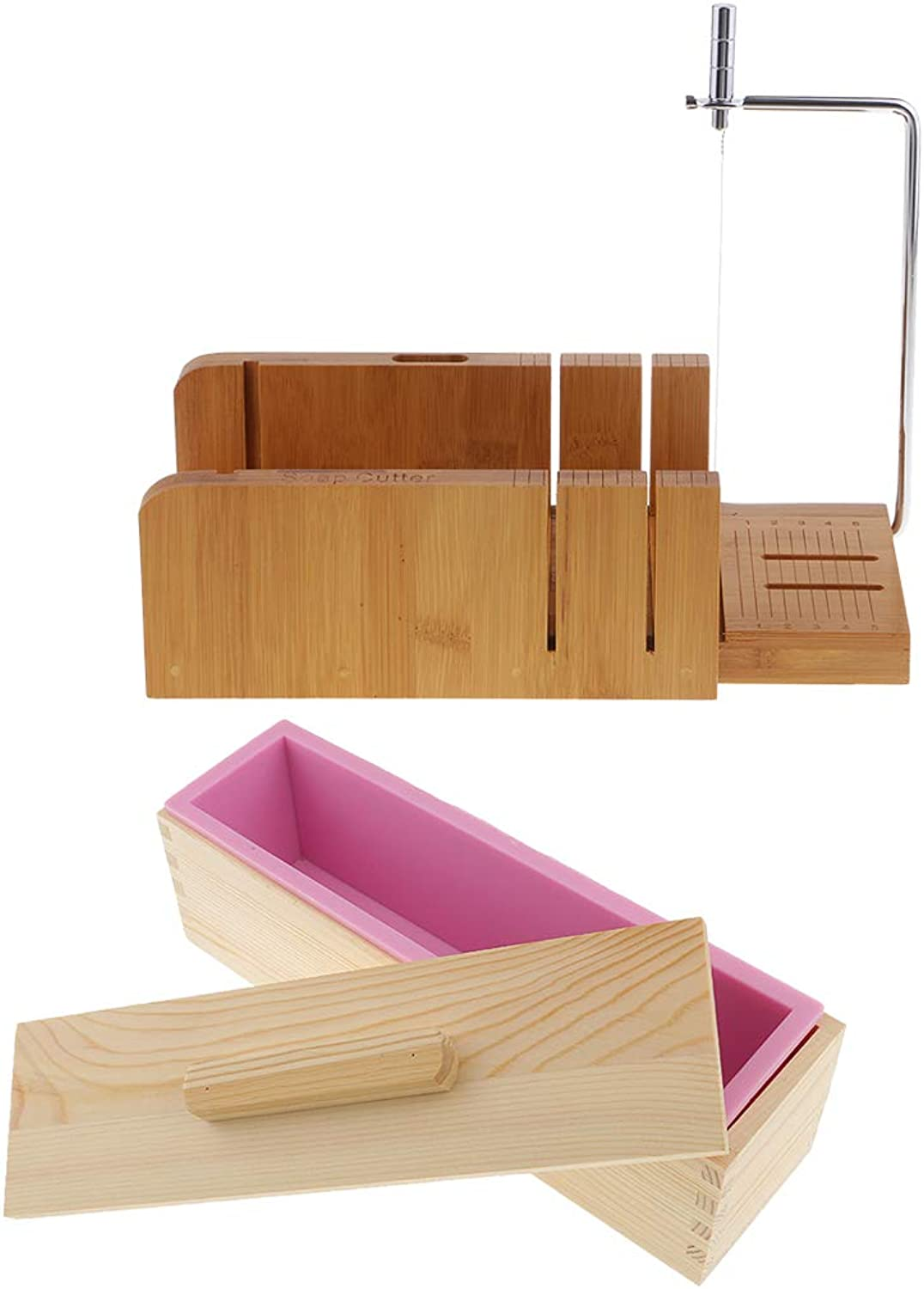 F Fityle Wooden Box, Silicone Soap Loaf Mold and Soap Cutter Beveler & Wire Slicer, for DIY Soap Cake Chocolate Making Tools