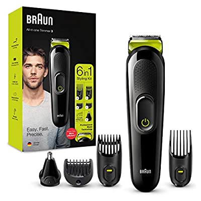 Braun 6-in-1 All-in-one Trimmer 3 MGK3221, Beard Trimmer for Men, Hair Clipper and Face Trimmer with Lifetime Sharp Blades, Ear & Nose Trimmer Head, 5 Attachments, Black/Volt Green, UK Two Pin Plug from Procter & Gamble