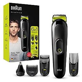 Braun 3 Tout-En-Un Rasoir Électrique Homme de Précision Oreilles & Nez, Noir/Vert, 6-En-1 Avec Lames Affûtées Inusables…