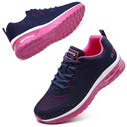 Maichal Women Running Shoes Tennis Sneakers Lace-up Air Cushion Mesh Comfortable Jogging Fitness Sport Navy Rose 8