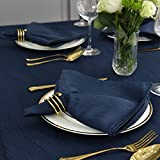 Maxmill Jacquard Cloth Napkins 20 x 20 Inch Swirl Pattern Soft Comfortable and Luxury Serviette for Restaurant Family Dinners Weddings Parties and Banquets Set of 4 Navy Blue