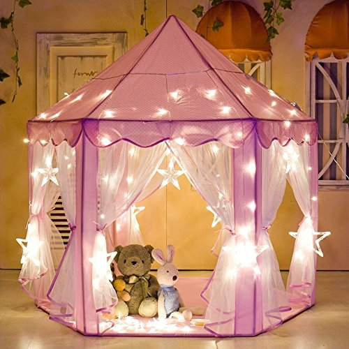 e-Joy Kids Indoor/Outdoor Tent Fairy Princess Castle Tent,Perfect Hexagon Large Playhouse Toys for GirlsBoys Children Toddlers Gift/Present Extra Large Room 55'x 53'(DxH) Pink with LED Light