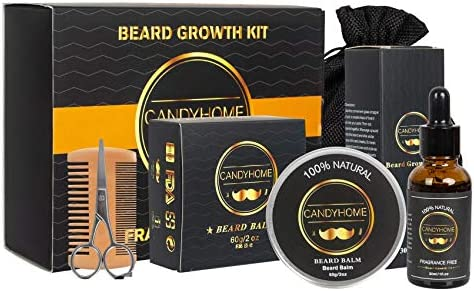 Beard Growth Kit for Men Gifts CandyHome Beard Growth Oil Beard Comb Beard Balm Beard Scissors product image