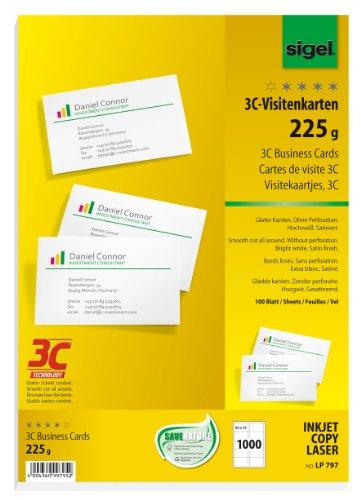 SIGEL LP797 Visitenkarten 3C, 1000 Stück (100 Blatt), hochweiß, glatter Schnitt rundum, 225 g, 85x55 mm - weitere Stückzahlen