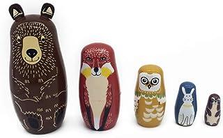 EXCEART 5 Stuks Handgemaakte Stapel Speelgoed Russische Nestelende Pop Dier Houten Matryoshka Poppen Voor Kinderen