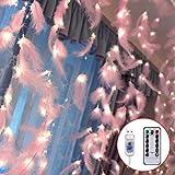 Danolt 300 LED Rosado Plumas Guirnaldas luminosas con 8 modos de luz Control remoto Cortina de pared romántica Decoración para bodas Fiesta de cumpleaños Dormitorio Interior