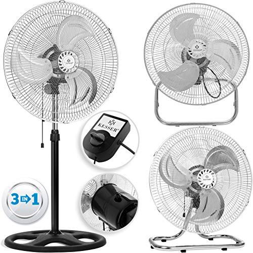 KESSER® 3 in 1 Ventilator Ø 45 cm | Chrom Standventilator + Tischventilator + Wandventilator |mit Oszillation | Windmaschine | Ventilator | Lüfter Gebläse | höhenverstellbarer Standfuß