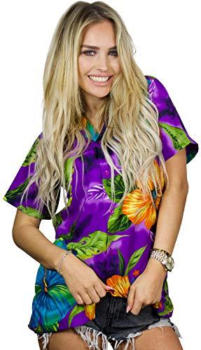 Funky Hawaiihemd Hawaiibluse, Big Flower, violett, S