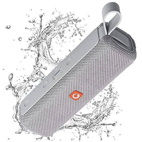 DOSS Enceinte Bluetooth Portable,Waterproof et Dustproof Haut-Parleur sans Fil 12W, Étanche pour Piscine & Plage IPX6, Gris