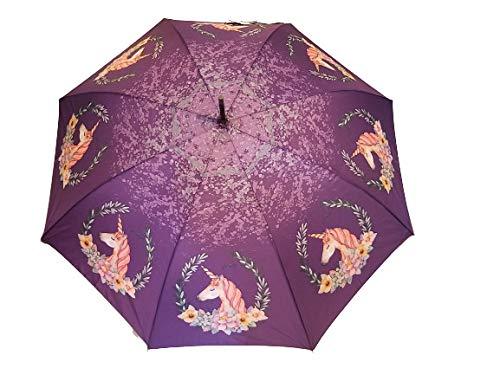 Goods4good Paraguas para Mujeres, señoras y Chicas Adolescentes, Largo y automático, con diseño de Unicornios (Rosa y Morado), Resistente al Viento y diseñado en España. Diámetro 104 cm (Morado)