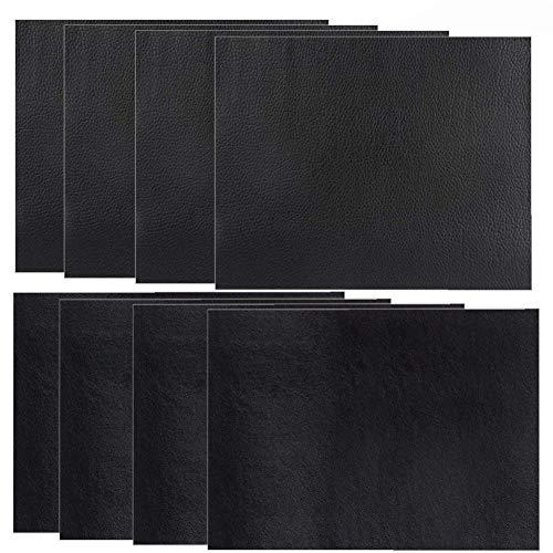 Yiiky 8 Stück Selbstklebender Leder Reparatur Patch, Flicken Selbstklebend Patch, Erste Hilfe für Sofas Autositze, Handtaschen Jacken, Fix Löcher, Risse, Verbrennungen, Flecken (schwarz, 25x30)