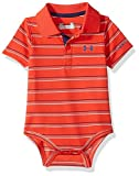 Under Armour Baby-Boys Newborn Yarn Dye Polo Bodysuit, Risk Red, 0-3 Months