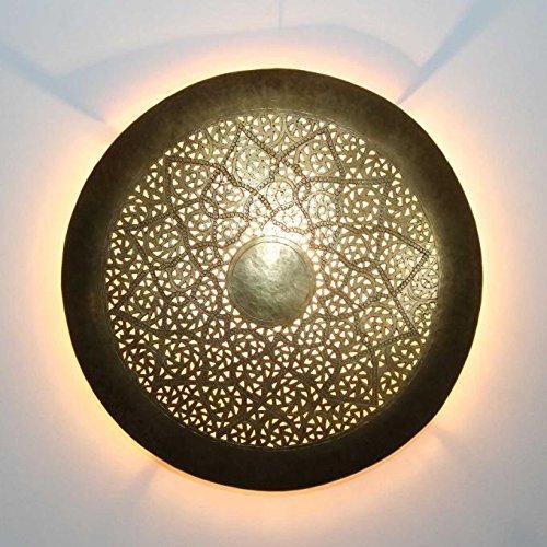 Orientalische Wandleuchte marokkanische handmade Wandlampe Hilal rund Ø 37 cm aus Messing Antik-Gold | Schöne Dekoration für Wand & Flur | Kunsthandwerk aus Marrakesch | L1850
