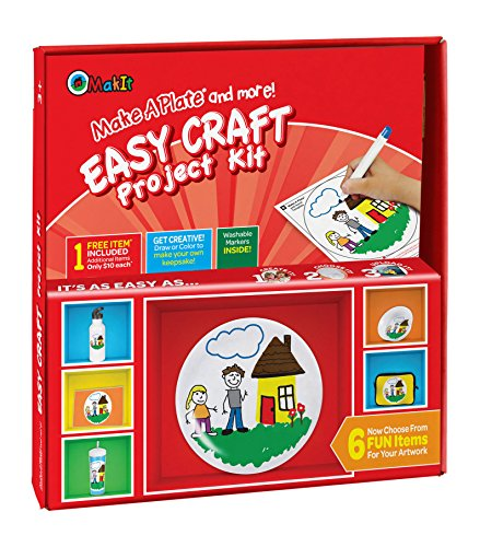 Makit Products F92100ECRD Make a Plate and More-Easy Craft Kit para proyectos de papel, color blanco