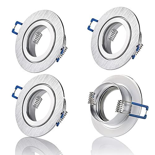 Sweet-led Spot encastrable IP44 en aluminium pour salle de bain / douche avec culot GU10 Protection contre les projections d'eau IP44, Aluminium, 4er,Silber, GU10