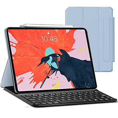 Funda con teclado para iPad Pro de 11 pulgadas (2020 2nd / 2018 1st Gen) con portalápices y teclado Bluetooth, funda delgada para teclado para iPad 10.9 Air 4 Gen - Desmontable inalámbrico,Light blue