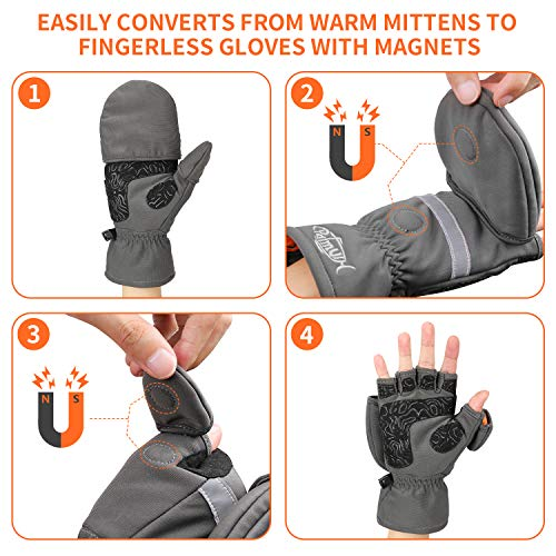 Palmyth Ice Fishing Gloves Convertible Mittens Flip Fingerless Mitt with Thinsulate 3M Warm for Cold Weather and Winter Men Women Photography Running Camera (Gray, Medium)