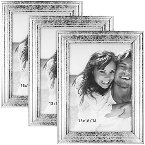 COM-FOUR® 3x fotolijst met standaard - fotolijst om op te staan - stijlvolle lijst in antiek design