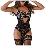 Aniywn Lace Bodysuit One Piece Lingerie for Women Deep V Neck Sexy Lace Bodysuit Babydoll Underwear Black