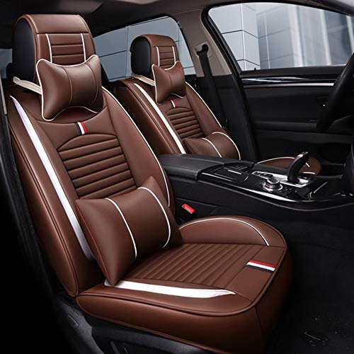 Yadaln Cuero PU Impermeable Funda Asiento Coche Cojines Juego Completo (5 Asientos), Universal para Audi A3 / A4 / A5 / A6 / A8 / Q3 / Q5 / RS4 (Color : Coffee)