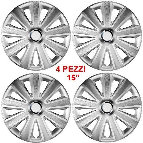 Wieldoppen Wieldoppen wieldoppen met 15 inch diameter 4 stuks pak met ABS gelakt, gemakkelijk te monteren kleur zilver effect universeel