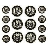 Bezelry Skull Emblem Matte Silver Black Metal Shank Double Blazer Button Set. 6 Pcs of 23mm, 8 Pcs of 15mm