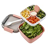 LEAK-PROOF DESIGN: The lid of salad lunch container is equipped with tight locks sealing up tighter than those with rubber rim 3 COMPARTMENTS STORAGE: 3 compartments can separate salad, snacks, fruits and other food. It is convenient for you to taste...