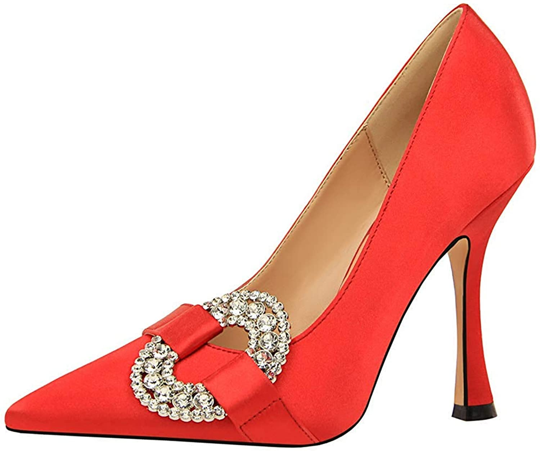 Unm Women's Elegant Rhinestone Low Cut Dressy Pointy Toe Slip On Stiletto High Heel Pumps Party Wedding shoes