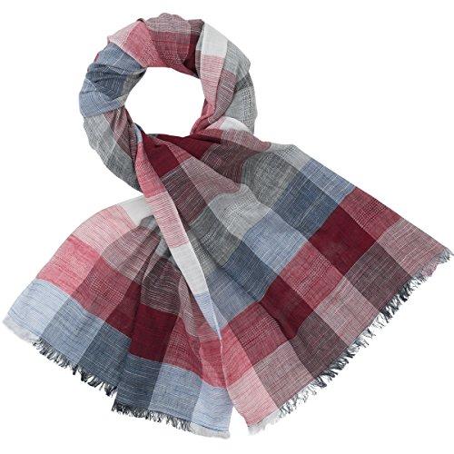 LINDENMANN Herren Schal Sommer / 100% Baumwolle, Herrenschal, grau-rot-blau