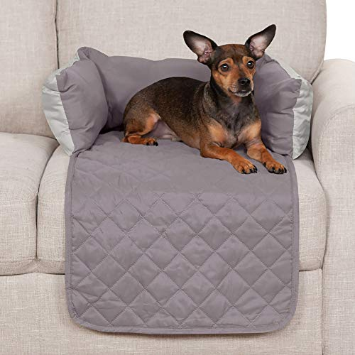 Furhaven Pet Furniture Cover - Sofa Buddy Two-Tone Reversible Water-Resistant Living Room Furniture Cover Protector Pet Bed for Dogs and Cats, Gray and Mist, Small
