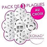 Pack de 3 Plaques disque motifs - AU CHOIX - Konad stamping nail art