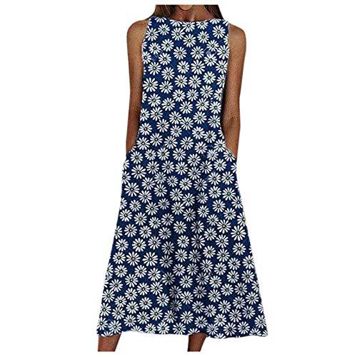 Dasongff Damen Floral Casual Work Leinen Baumwolle Kleid Casual Langarm Lose Maxikleid Rundhalsausschnitt Lang Kleid Stretch Swing Summer Party...