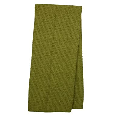 Eurow Microfiber Waffle Weave Kitchen Towel (3-Pack, Olive)