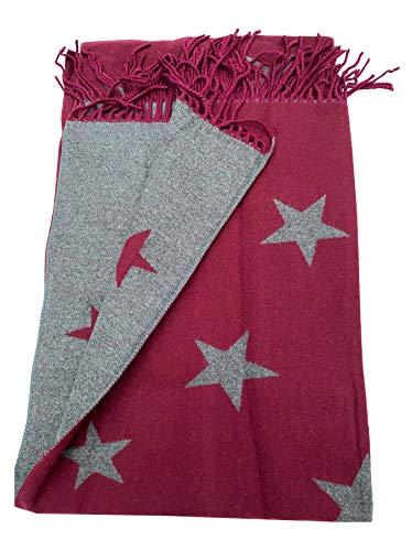Bufanda supersuave con estampado de estrellas grises granate, con borlas de color gris, suave, cálida y elegante, de calidad prémium.