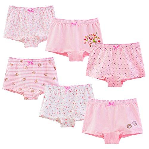 ボクサーブリーフ キッズ 綿100% ガールズ ピンクのパンツ 90cm, 6枚組セット A