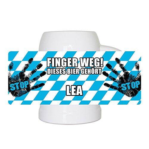 Lustiger Bierkrug mit Namen Lea und schönem Motiv Finger weg! Dieses Bier gehört Lea | Bier-Humpen | Bier-Seidel