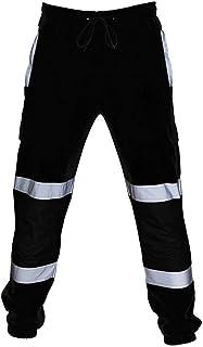 pantalón Reflectante para Trabajar Moda Loose Fit Pantalón Largos con Bolsillos Cómodo Cintura Elástica Casual Outdoor Pantalones Reflectantes Pantalones Casual para Hombre
