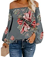 Women's Casual Off Shoulder Loose Shirt Balloon Sleeve Printed Blouse Top Grey