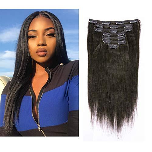 Anrosa Yaki Hair Clip in Yaki Hair Extensions Clip in Human Hair Yaki Hair Clip in Extensions for African American Yaki Straight Clip ins Natural Hair Thick Volume Natural Black 1B 10 inch 120 Gram