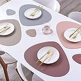 4er Set/6er Set Platzsets und Untersetzer Dreieck Oval Leder Tischset Wassertropfen Abwischbar Tischmatte Wasserdicht ölbeständig Rutschfestes Hitzebeständiges Platzsets (Beige,6er) - 4