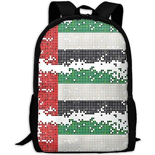 Kinderrucksäcke,Vereinigte Arabische Emirate Flagge Erwachsenen Reise Rucksack Schule Casual Daypack Oxford Outdoor Laptop Tasche College Computer Umhängetaschen