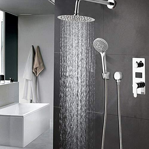 Duschsystem LCD-Digital Duschset mit Edelstahl Duscharmatur Brause Wasserhahn Brauseset Thermostat Unterputz Kopfbrasuse Duschpaneel