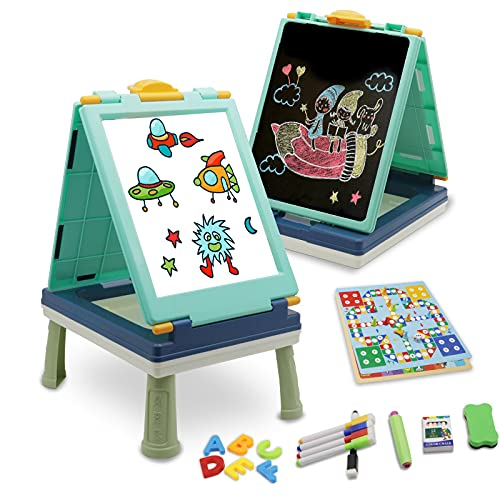 QDH Art Easel for Kids, Double Sided Whiteboard & Chalkboard Tabletop Easel with Art Accessories, Portable Toddler Dry Erase Drawing Board with Numbers and Letters Set