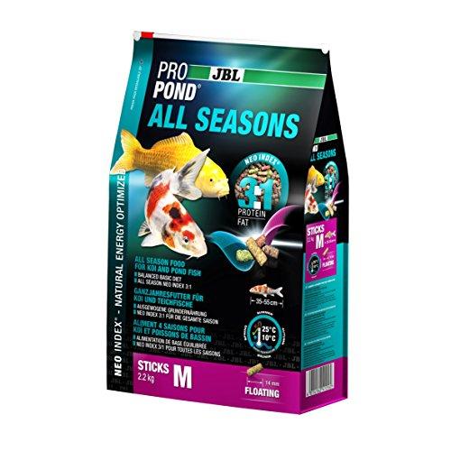 JBL Nourriture standard pour Koïs, Bâtonnets Alimentaires Flottants, Nourriture de saison, ProPond All Seasons, Taille: M, 2,2 kg