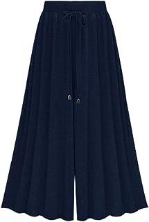 LaoZan damskie spodnie na lato, wysoka talia, ściągacz ze sznurkiem, wygodne spodnie na czas wolny z elastycznym paskiem