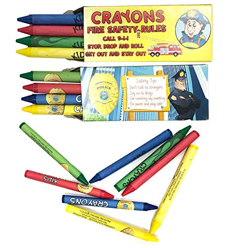 Kicko First Responders Crayon Pack - Firefighter and Police - 3.75 x 1.5 Inches - for Party Favors, Birthdays, Christmas, New Year's, Showers, Carnivals, 50 Pack