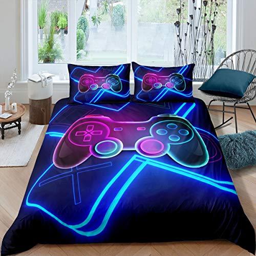 Juego de ropa de cama para niños y niñas, juego de cama para juegos de videojuegos, juego de funda de edredón con 2 fundas de almohada, 3 piezas, juego de cama doble