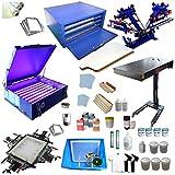 4 Color Screen Printing Kit Silk Screen Printing Machine Screen Printing Press 4 Color 1 Station