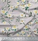 Soimoi Grau Seide Stoff Blätter & Magnolie Blumen- Stoff