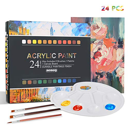 Acrylfarben Set für Acrylmalerei, 24 Acrylfarben Wasserbasis 3 Künstlerpinsel 1 Gemischte Palette 1 Leinwand - für Ölfarbenset für Anfänger Papier, Leinwand, Holz, Stein - je Tube 12 ml - (24 Farben)